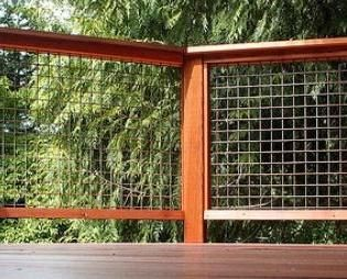 Usually used for stock confinement, galvanized or stainless welded wire mesh is an excellent material for deck railings — very strong and extremely durable.