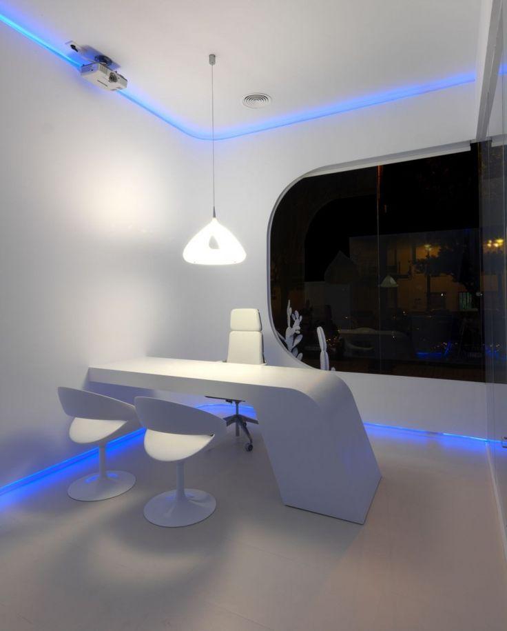 oficina futurista con luces led interior