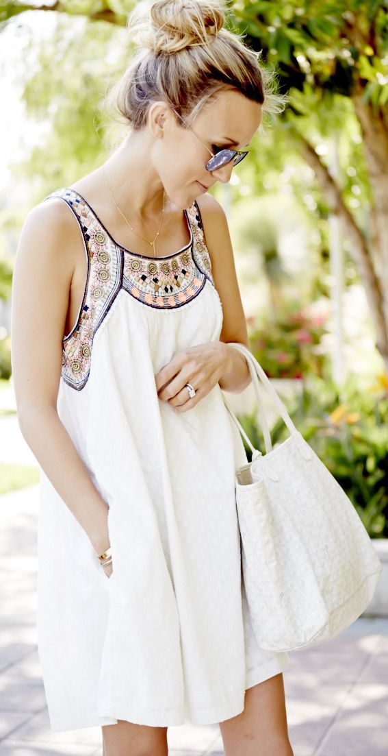 Anthropologie White Relaxed Embellished Collar And Straps Swing Dress by Damsel In Dior