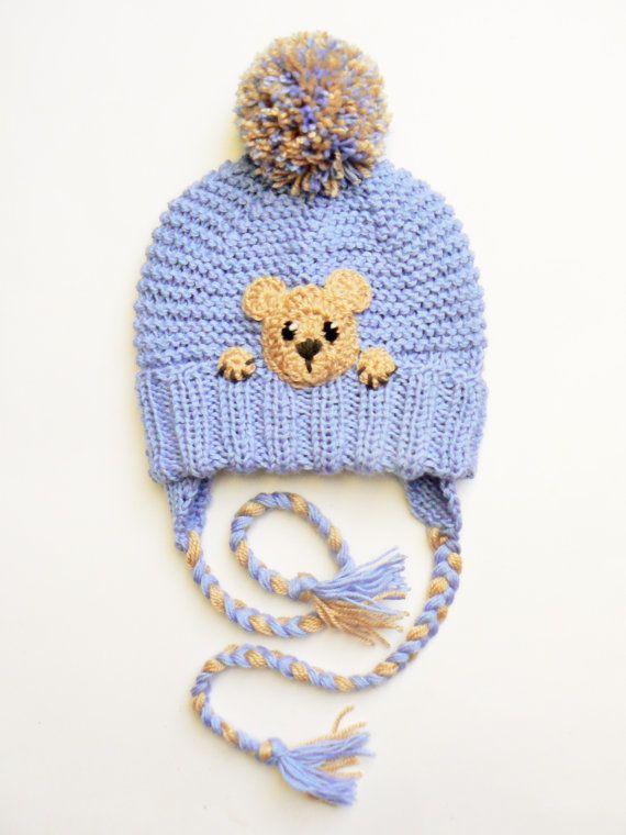 Toddler Winter Hat with Bear Kids Earflap Pom Pom Hat by 2mice