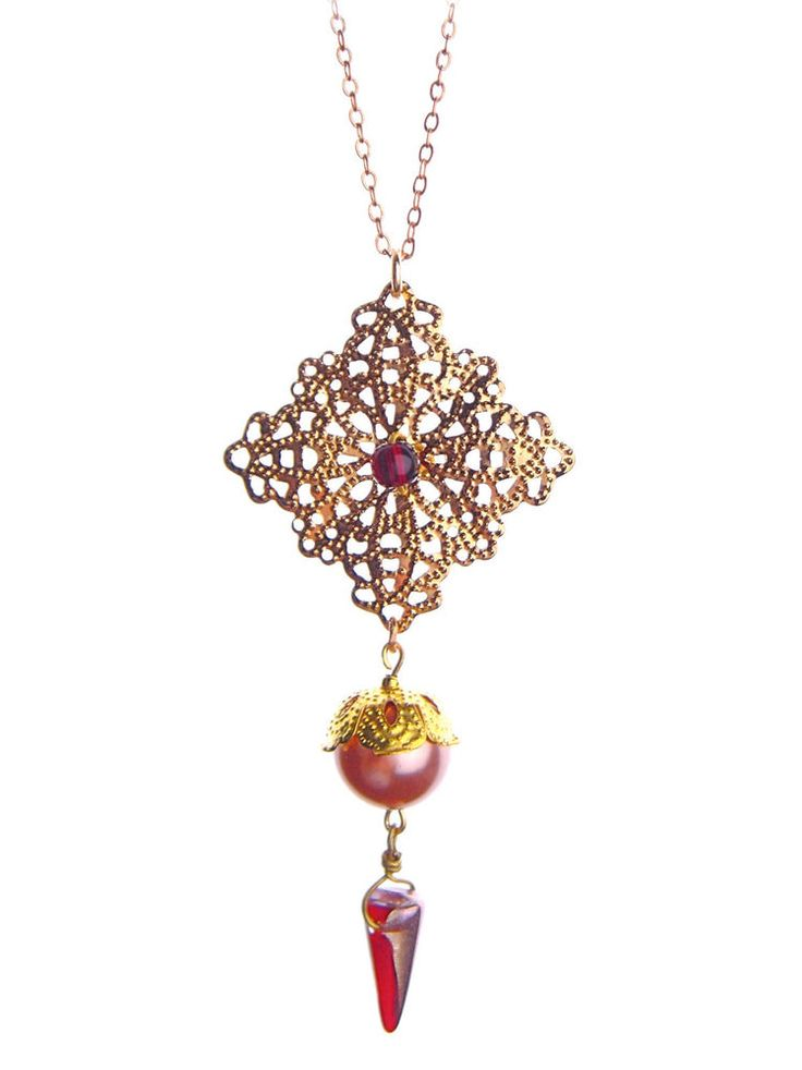 Antique Vintage Romantic Czech Glass Pendant Necklace Red Gold Filigree #Unbranded #Pendant