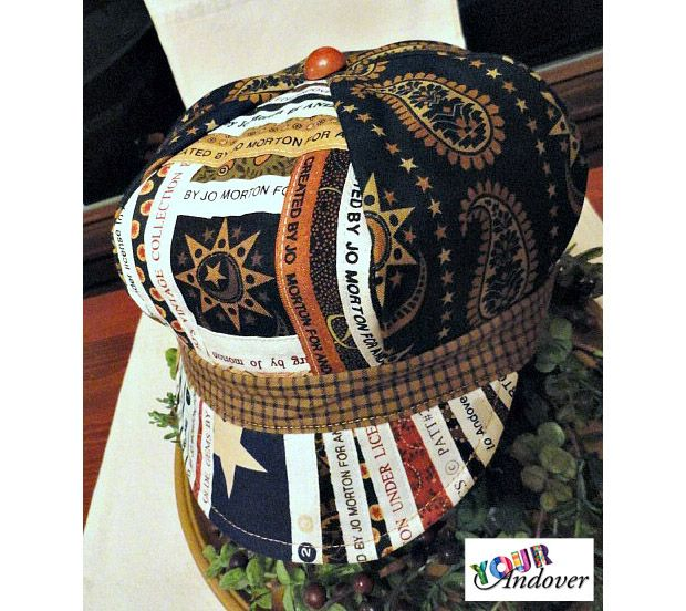 Kathy Plumley made this beautiful hat using Jo Morton's Yorktown collection and assorted selvages. Like/Repin this post to vote for Kathy.