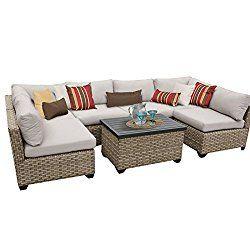 TK Classics Monterey 7 Piece Outdoor Wicker Patio Furniture Set 07a, Beige
