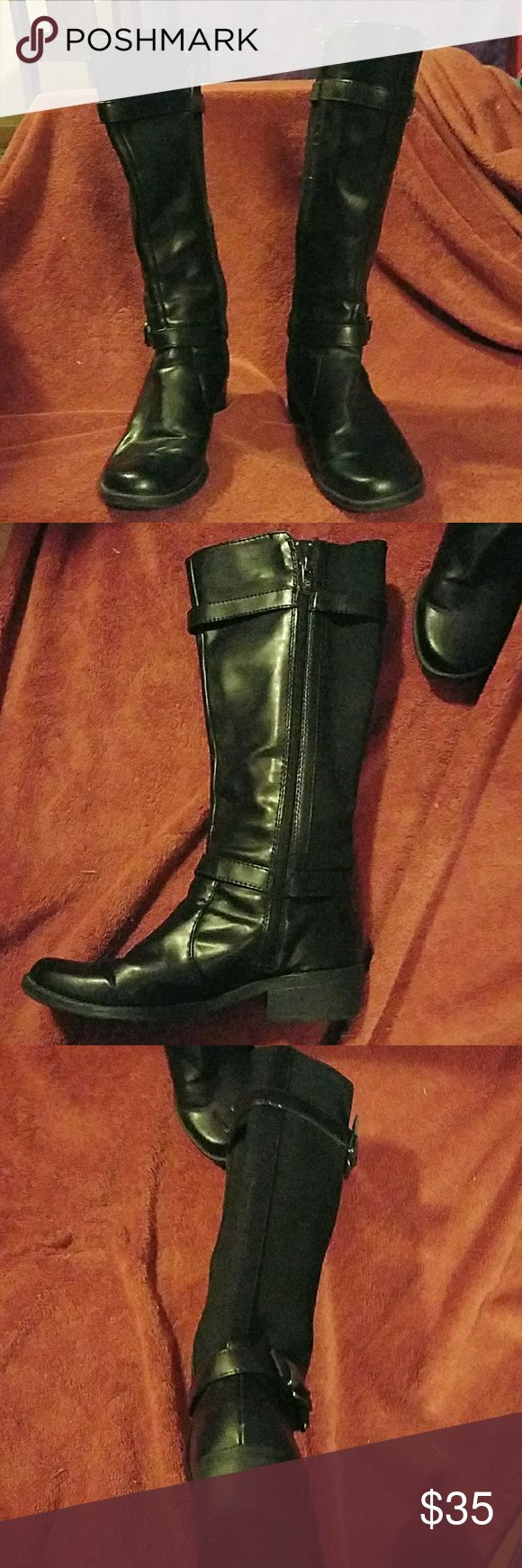 """Anne Klein Lissa Boots, size 7 Man made leather and cloth. 1"""" heels. No stains, tears or defects. Gently used. Anne Klein Shoes Winter & Rain Boots"""