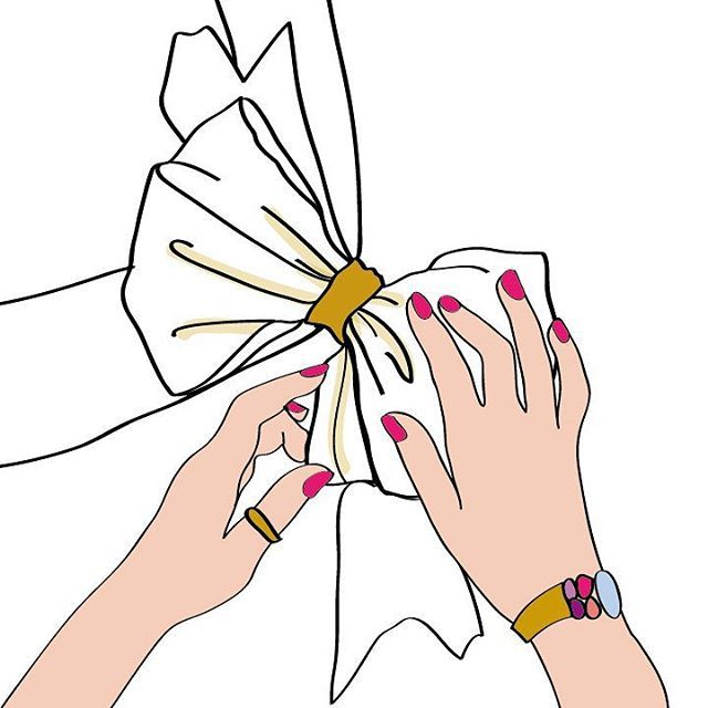 Vogue vintage cover re-edit illustration by Chiara Rigoni #chiararigoni #bow #illustration #present #hands