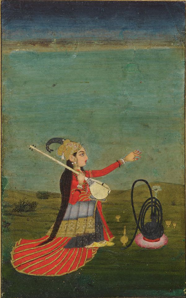 pakizah:  Female performer with tanpura 18th century Colour and gold on paper