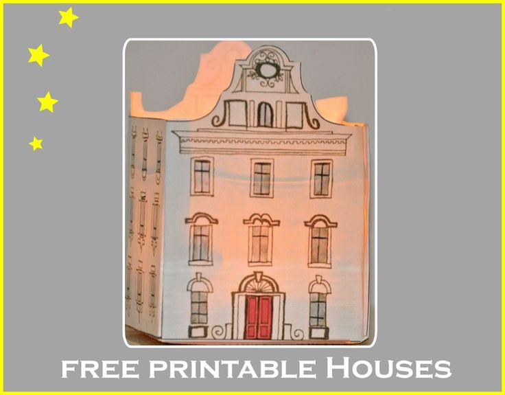 free printable DIY paper houses ♥ – free lantern houses, gingerbread houses, box houses, ornament houses
