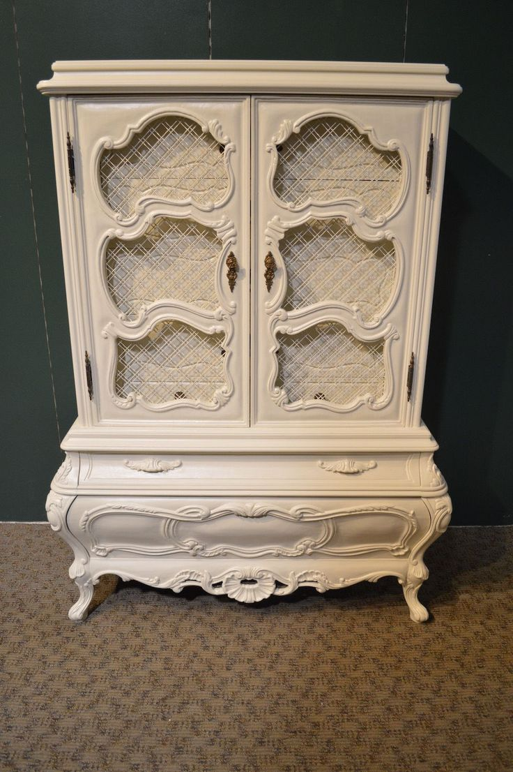 This hand painted hepplewhite style chairs is no longer available - Vintage Shabby Cottage Chic Renaissance Style Armoire Hand Painted In A Creamy White Sealed