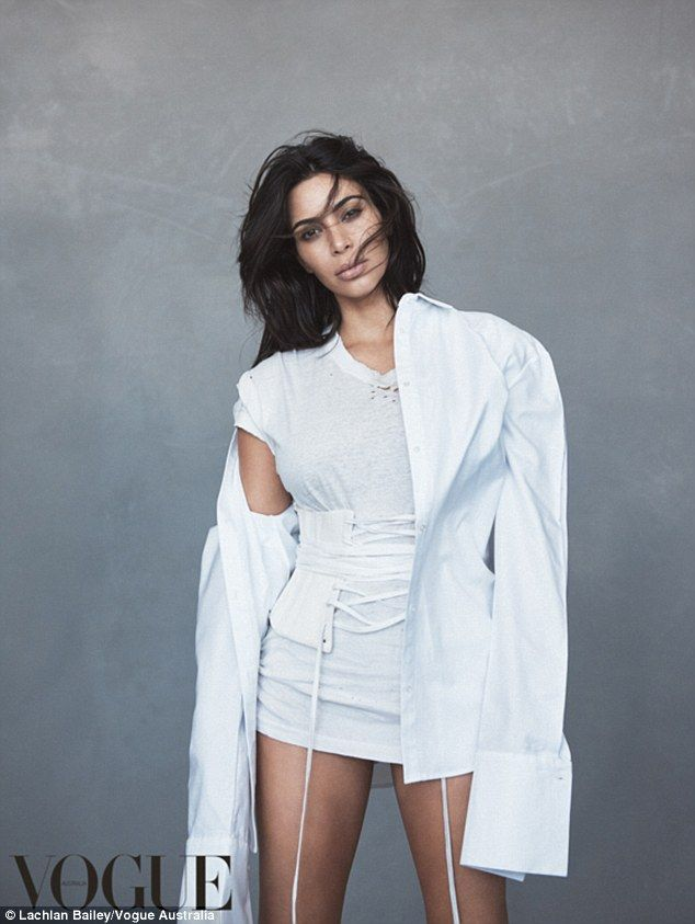 Kim gets waisted! Kardashian Queen smoulders for Vogue Australia's June issue wearing ten ...