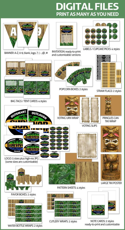 Survivor TV Show Party Printables  DIGITAL  Customizable
