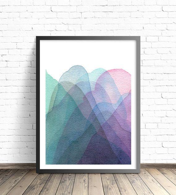 Art prints. Abstract Mountain Print. Abstract watercolor poster. Calming art print. Modern home decor wall poters. Living room wall art