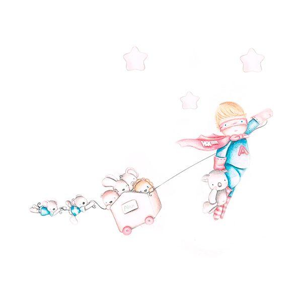 Decoración infantil Il Mondo di Alex, Vinilos - Stickers efecto pintado a mano, SUPER HEROE... personalizado con nombre y a medida.