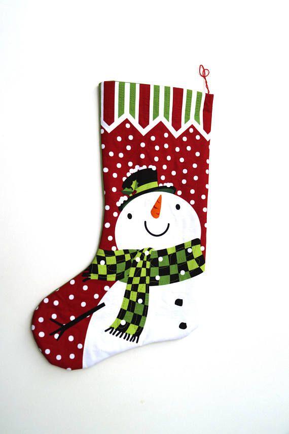 Media de Navidad con muñeco de nieve en tela acolchada