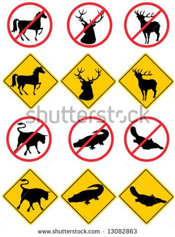 Wildlife road signs and symbols  #wildlife #retro #illustration