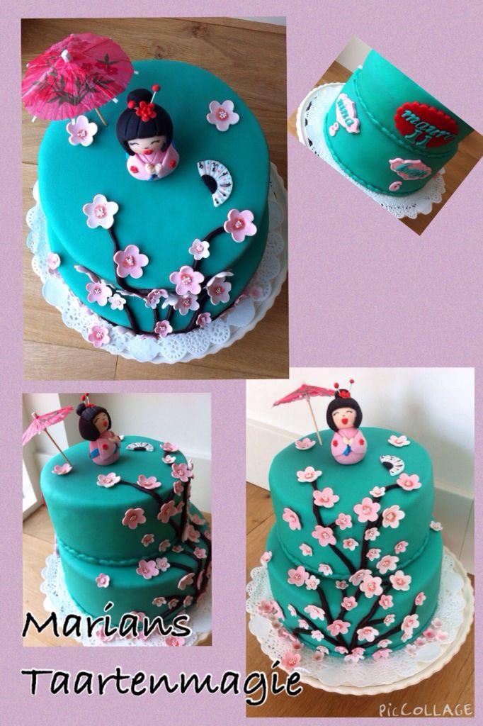 Japanse taart voor het feestje van Mauro, Nina en Kaye