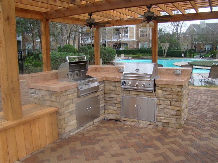 Contemporary Planning Your Own Outdoor Kitchens Outdoor Kitchen By The Pool For Your House - Popular backyard kitchen Ideas