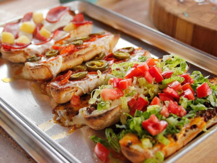 French Bread Pizzas recipe from Ree Drummond via Food Network