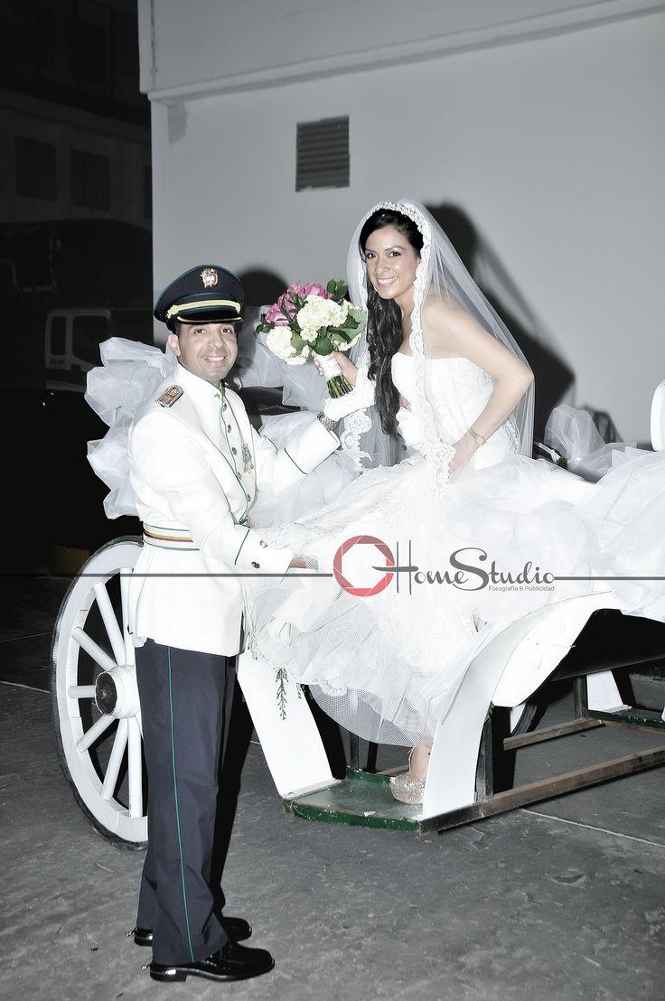 Fotografía de Novios. #carruaje# #novios# #boda# #novia# #velo# #traje# #ramo# #caballo#