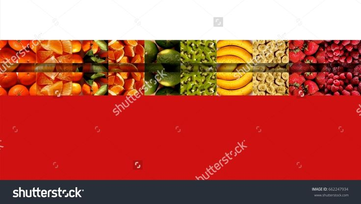 Three #rows of small #rectangles full of #fruity textures: #citrus #fruits, #bananas and #berries, on white and red #background