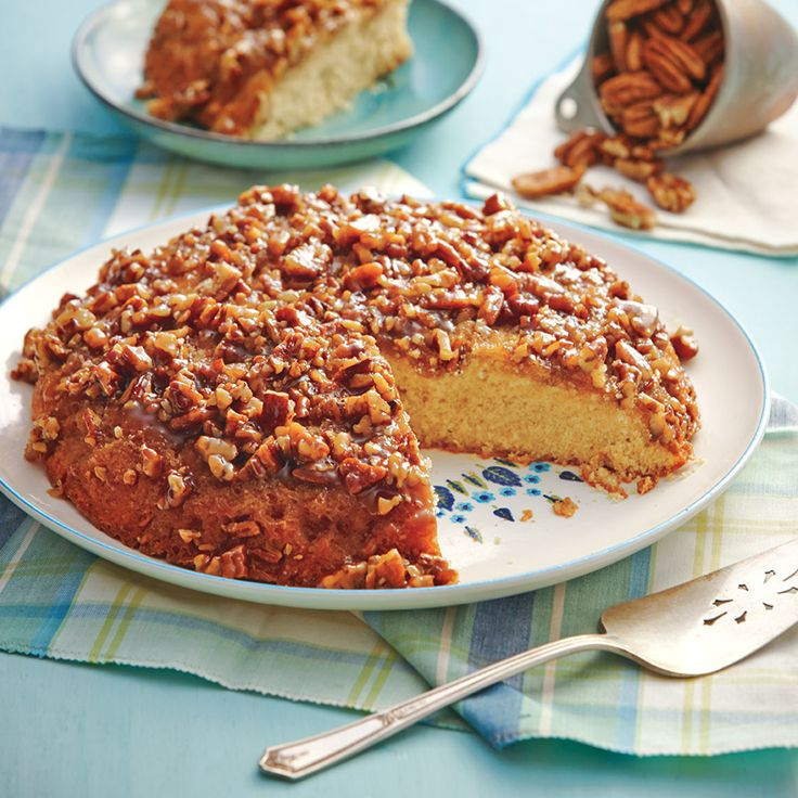 Nutty pecans in a sweet praline sauce make this cake one sweet Southern treat.