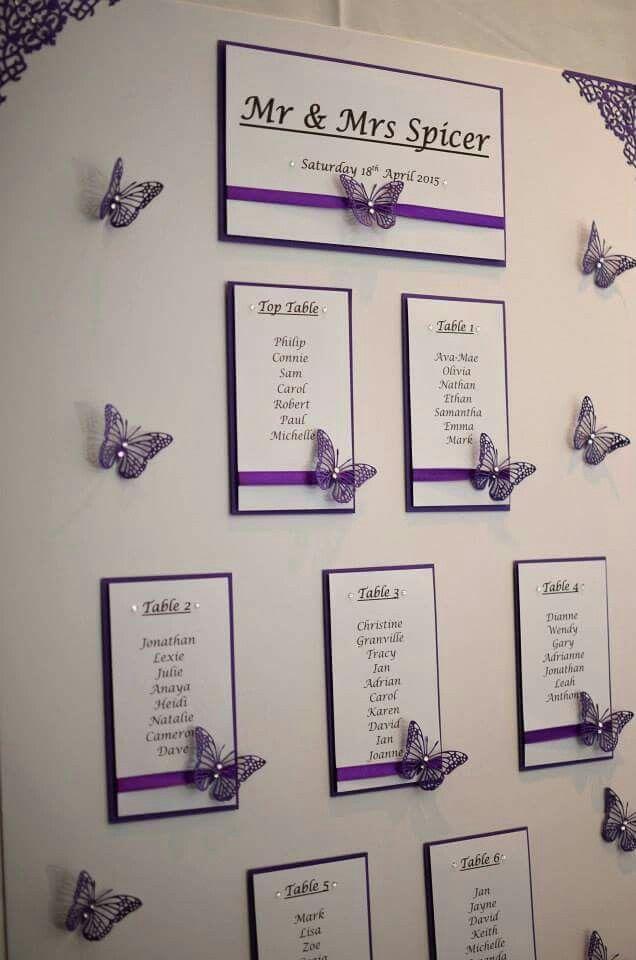 Cadbury Purple Butterfly Table Plan In 2020 Purple Wedding