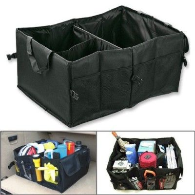 1pc Black Oxford Fabric Lightweight Multipurpose Car SUV Organizer Folding Collapsible Foldable Cargo Storage Box Bag Case Car Boot w/ Rope Handles For Travel Vocation Trip Camping