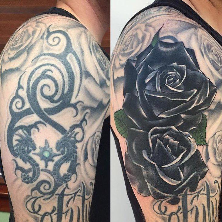 Image result for black rose cover up tattoos