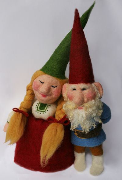 """Needle felted gnome by Laura Lee Burch 24"""" tall"""