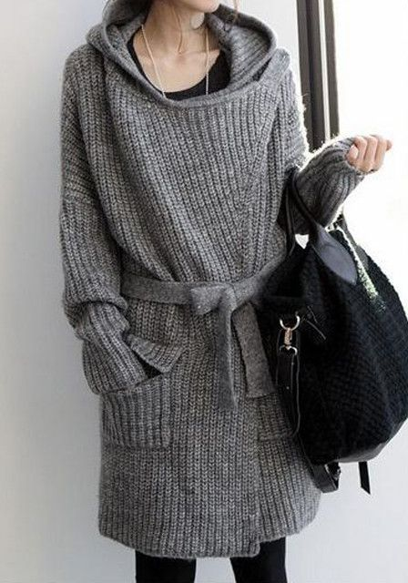 Grey Hooded Knit Cardigan - Features Waist Belt Cardigan