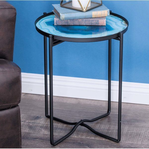 Modern Reflections Metal Glass End Table Round Shaped Blue Smoked