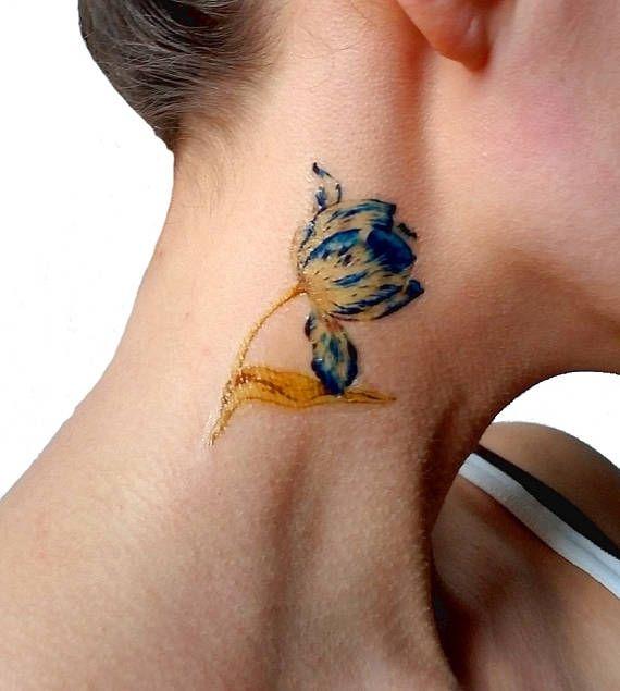 Blue and white Tulip medium temporary tattoo / floral