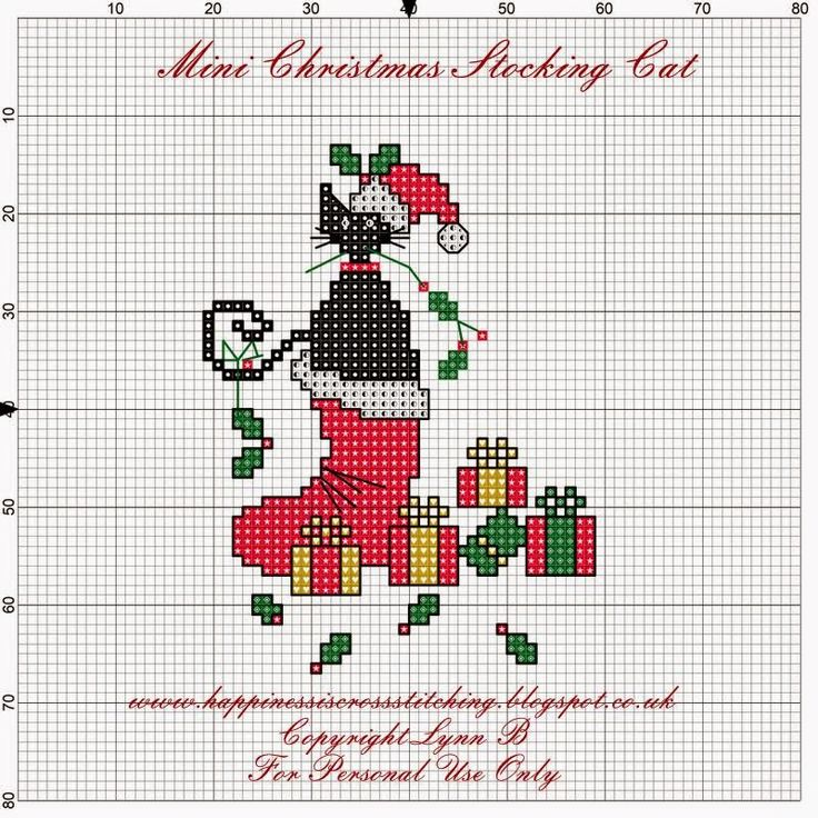 Happiness is Cross Stitching : Freebie friday - Mini Cat in Christmas Stocking with holly