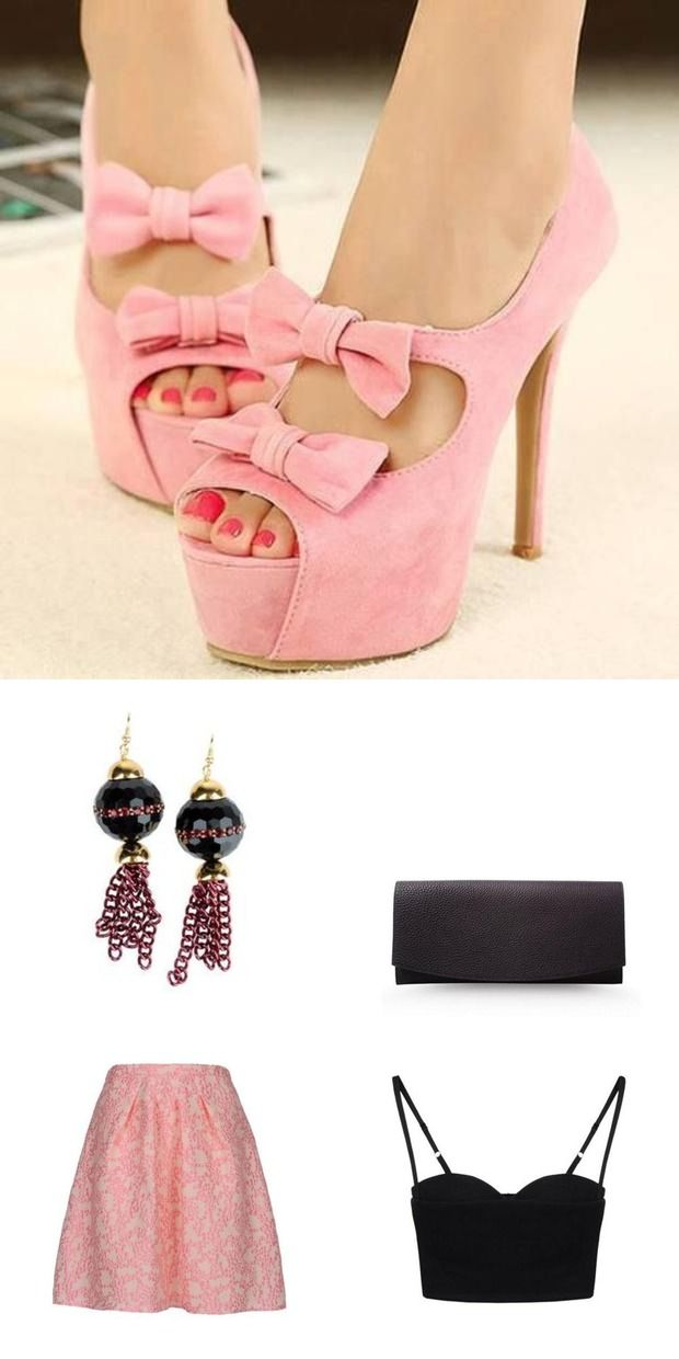 First Date, What to wear to the summer party, Pink shoes with ribbons