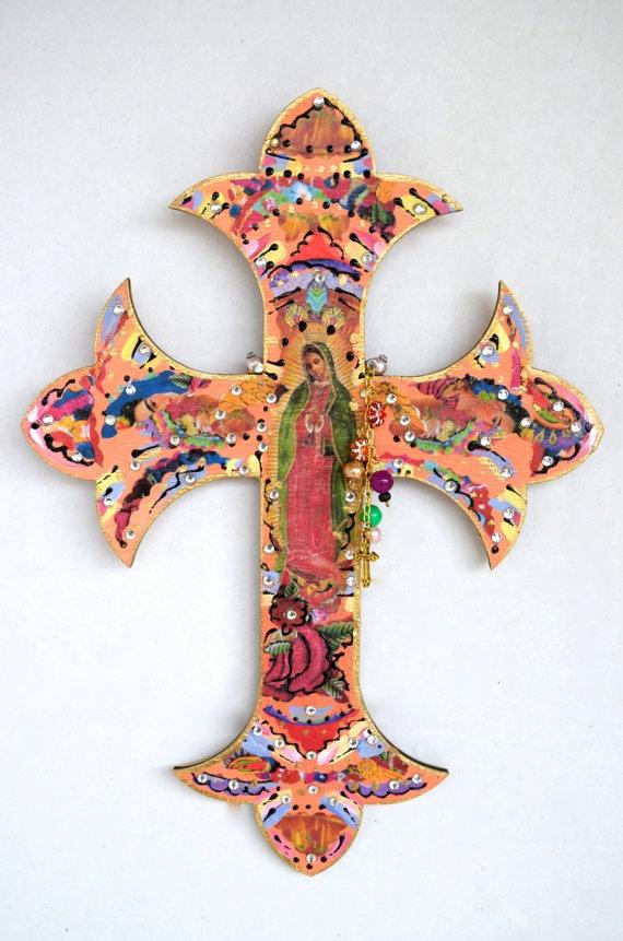Virgen de Guadalupe Wooden Cross Religious by OliviabyDesign, $17.95