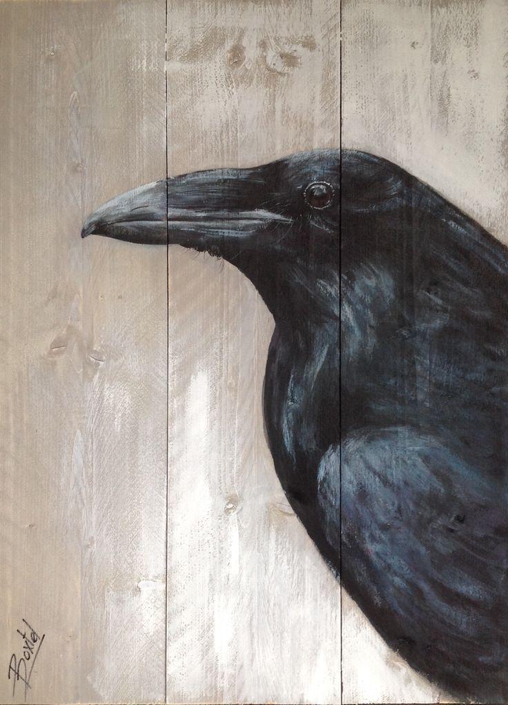 Schilderij van kraai op steigerhout painting of à crow on wood 60/80