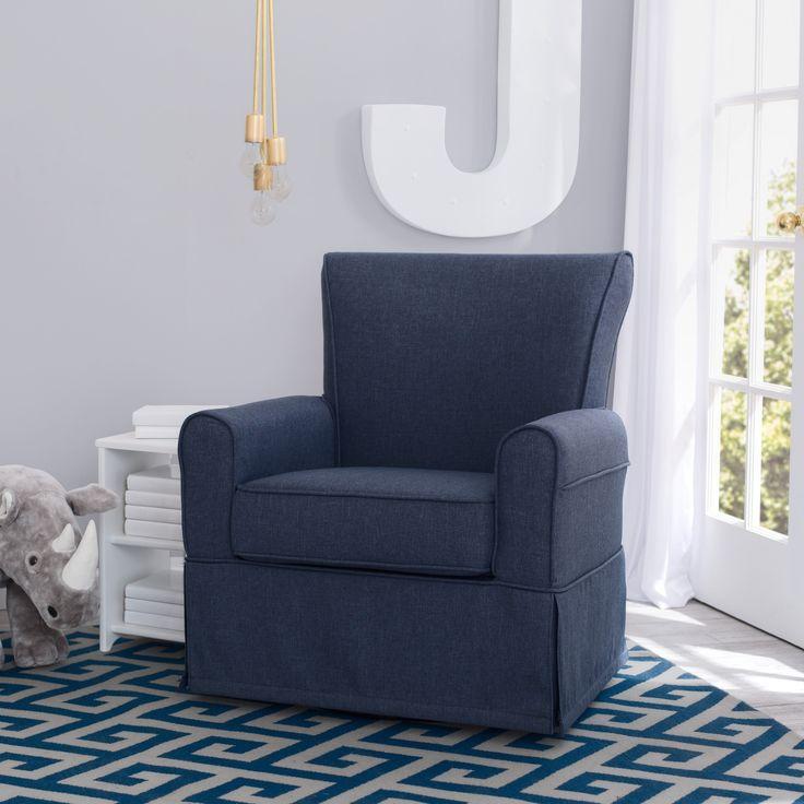 Delta Children Epic Nursery Glider Swivel Rocker Chair, Sailor Blue (Sailor Blue) (Metal)