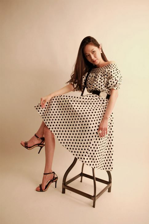 Korea feminine clothing Store [SOIR] Dot Long one piece  / Size : Free / Price : 50.13USD #korea #fashion #style #fashionshop #soir #feminine #special #dress #black #Ivory #cute #dot #lovely