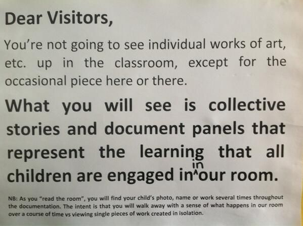 Sign on classroom art and documentation - via Nancy Niessen ≈≈