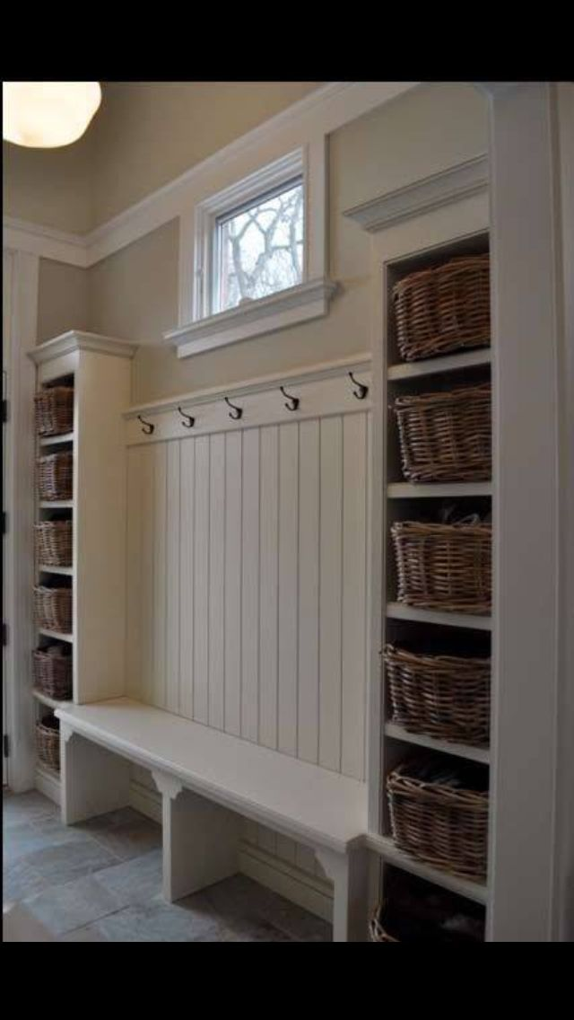 For mud room - shelf's w/ baskets for shoes, opposite the bench, would be organized and look nice.