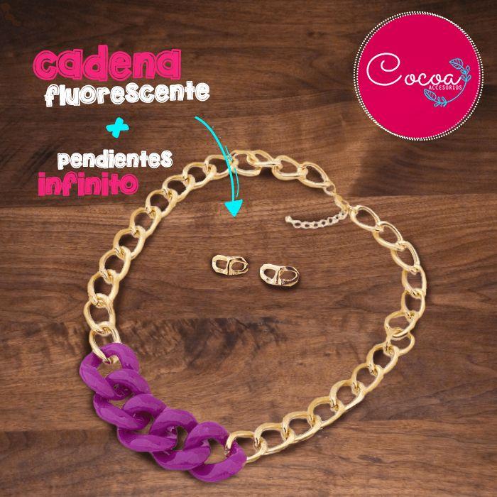 Cadena fluorescente (morado) + pendientes infinito #accesorioscocoa #accesoriosmujer #collares