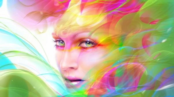 Wallpaper digital art, face, girl, multicolored