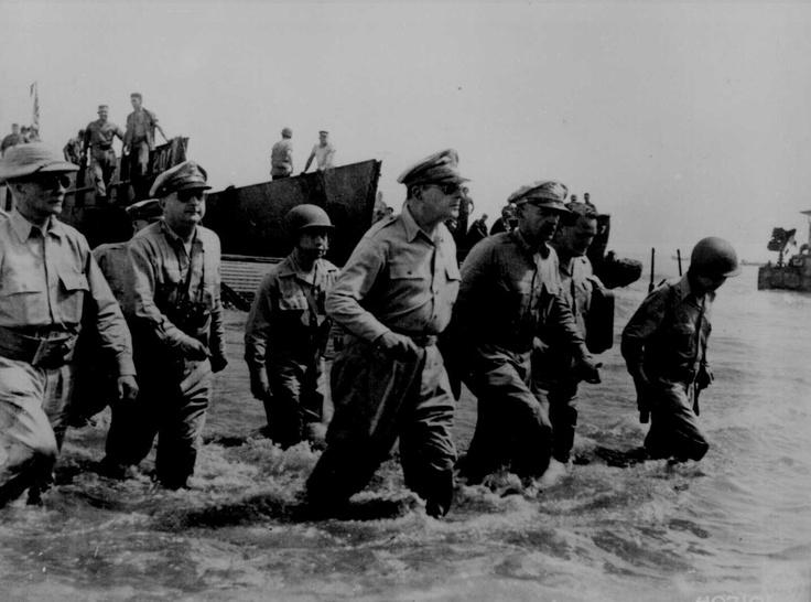 MacArthur wading ashore at Leyte, Philippine Islands, 20 Oct 1944