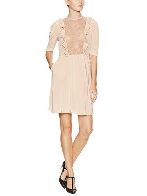 Silk Lace and Pleated Detail Dress