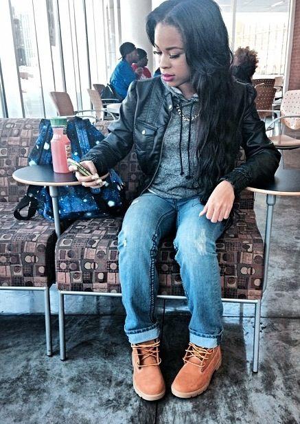 ★ ★ ★ three stars (light wash boyfriend jeans, grey hoodie, black leather jacket, timberland boots)