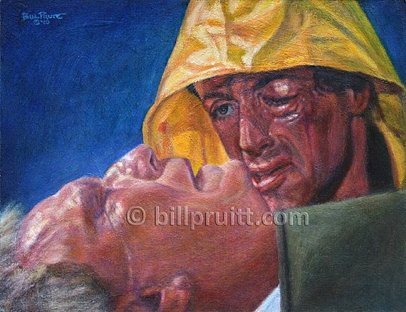 Sylvester Stallone Rocky Balboa Rocky 3 Mickey art print 12x16 signed and dated Bill Pruitt #RockyBalboa #RockyMickeyDeath