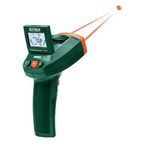 http://handinstrument.se/termometer-r1288/ir-termometer-53-IRT500-r1333  IR-termometer  Mätområde: -58 till 500 ° F (-50 till 260 ° C)  Tre färger LED indikerar hög (röd), Normal (grön), eller Low (blå) samt ljudlarm  Luta justerbar LCD-display med bakgrundsbelysning funktion och dubbla stapeldiagram  Fem programmerbara tröskelinställningar  En dubbel lasersystem för enkel inriktning  Snabb respons, 150 millisekunder samplingshastighet  Min / Max, Trigger lås för kontinuerlig...