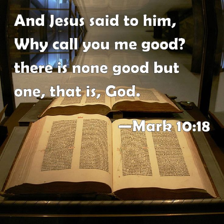 Mark 10:18 And Jesus said to him, Why call you me good? there is none good but one, that is, God.