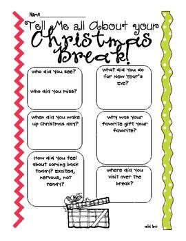 I know my kiddos are always buzzing after a long break-so I set this out on their desks for the day we return from Winter Break! 2 versions: one Christmas, one general winter 2 ideas: independent or interview and compare with a partner  It's a simple reflection using the 5W's  No prep!