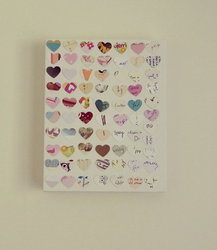 A heart cut out from all the cards my daughter received upon being born. An easy way to capture, store and display the love of our friends and family!