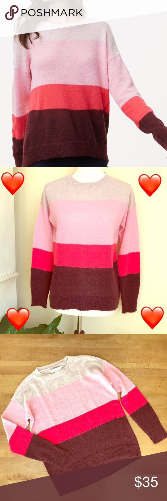 ❤️Anne Taylor LOFT Petite boyfriend sweater Anne Taylor LOFT striped boyfriend sweater. Super soft and casual! Perfect to wear on Valentine's Day! ❤️❤️❤️NWT. LOFT Sweaters Crew & Scoop Necks